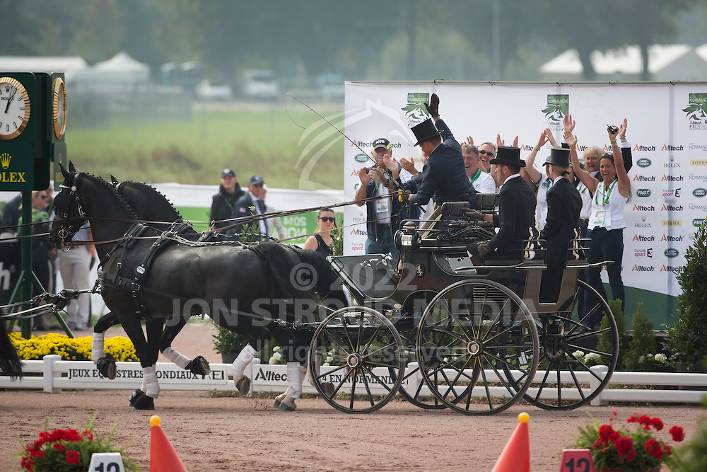 Boyd Exell, (AUS), Capone II, Curios, Rambo 395, Spitfire, Winston - Driving Cones - Alltech FEI World Equestrian Games&trade; 2014 - Normandy, France.<br /> &copy; Hippo Foto Team - Dirk Caremans<br /> 07/09/14