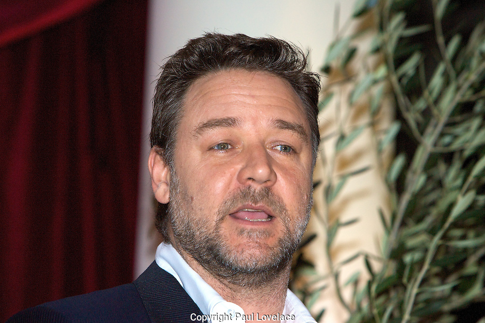 Australian actor Russell Crowe talks during a press conference to announce he will join the cast of 'Ben Hur' as the narrator at the Blue Hotel  Sydney, Australia. ANZ Stadium will be transformed into a Roman Amphitheater for the live production that will bring to life the Academy Award winning epic movie of the same title that starred American actor Charleston Heston in October, 2010. .Pics Paul Lovelace . An instant sale option is available where a price can be agreed on image useage size. Please contact me if this option is preferred.