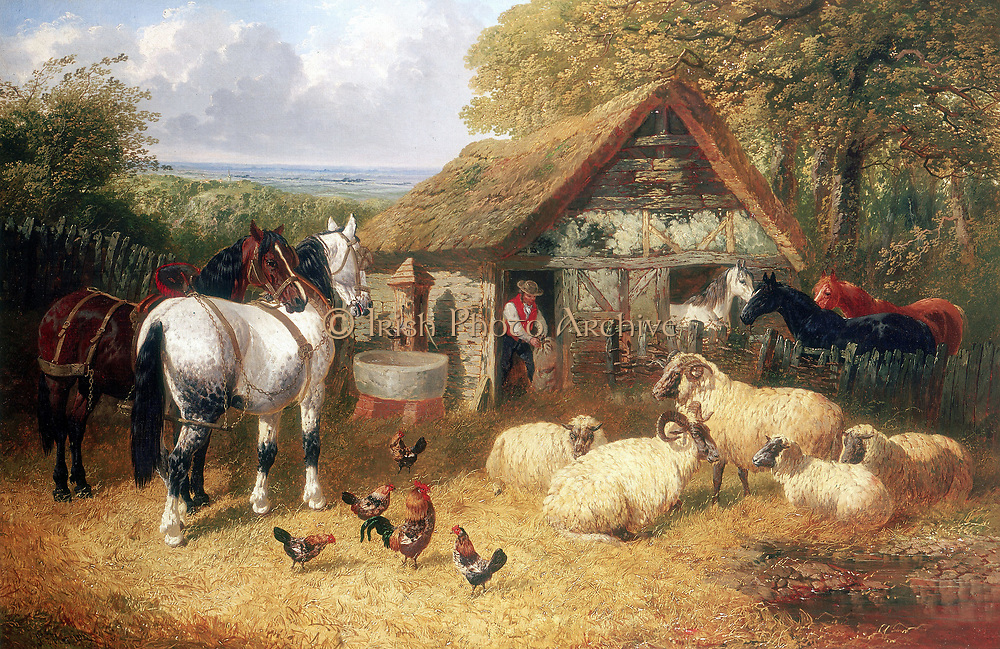 Farmyard scene showing stable by an oak wood, horses, horned sheep by a pond, and chickens.  Animals are waiting to be given feed by farm worker.  Outside building is water pump and drinking trough  Oil on canvas. J F Herring jnr