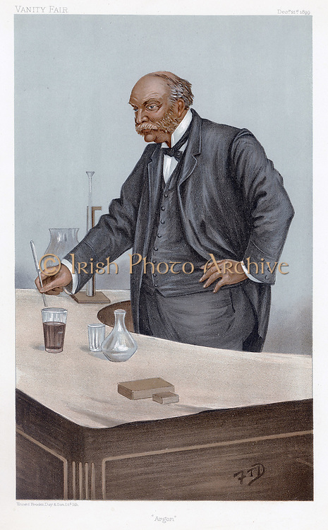 John William Strutt, 3rd Baron Rayleigh (1842-1919) British physicist. Nobel Prize for Physics 1904. Discovered the element Argon, one of the noble (inert) gases. Cartoon from 'Vanity Fair', London, December 1899, showing him lecturing.