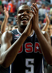 Kevin Durant  of USA celebrates during the finals basketball match between National teams of Turkey and USA at 2010 FIBA World Championships on September 12, 2010 at the Sinan Erdem Dome in Istanbul, Turkey.  USA defeated Turkey 81 - 64 and became World Champion 2010. (Photo By Vid Ponikvar / Sportida.com)