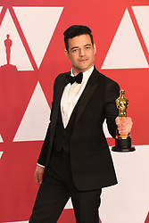 """Rami Malek, winner of the Best Actor In A Leading Role Award for """"Bohemian Rhapsody"""" at the 91st Annual Academy Awards (Oscars) presented by the Academy of Motion Picture Arts and Sciences.<br /> (Hollywood, CA, USA)"""