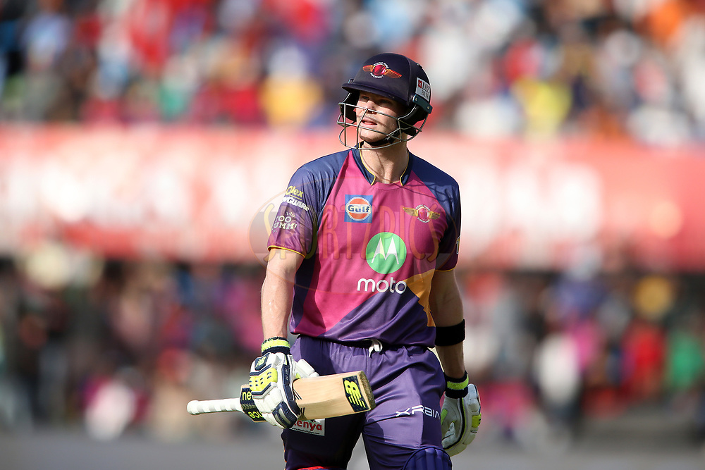 Rising Pune Supergiant captain Steven Smith walks off after losing his wicket during match 4 of the Vivo 2017 Indian Premier League between the Kings XI Punjab and the Rising Pune Supergiant held at the Holkar Cricket Stadium in Indore, India on the 8th April 2017<br /> <br /> Photo by Shaun Roy - IPL - Sportzpics