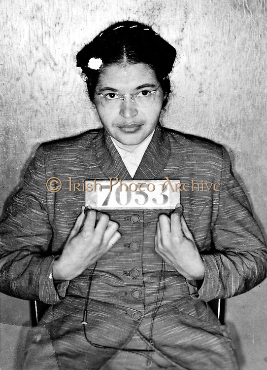 Rosa Louise McCauley Parks (1913-2005), American Civil Rights activist. Booking photo taken at the time of her arrest for refusing to give upe her seat on a  Montgomery, Alabama,  bus to a white passenger on 1 December 1955.
