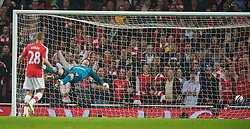 LONDON, ENGLAND - Wednesday, October 28, 2009: Arsenal's goalkeeper Lukasz Fabianski is helpless to prevent Liverpool's Emiliano Insua scoring the equalising goal during the League Cup 4th Round match at Emirates Stadium. (Photo by David Rawcliffe/Propaganda)