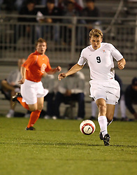 Virginia Cavaliers F Adam Cristman (9) in action against Clemson.  The Virginia Cavaliers Men's Soccer Team defeated the Clemson Tigers 2-0 in the ACC Tournament, Quarterfiles Round, on November 1, 2006 at the Maryland Soccerplex in Germantown, MD.