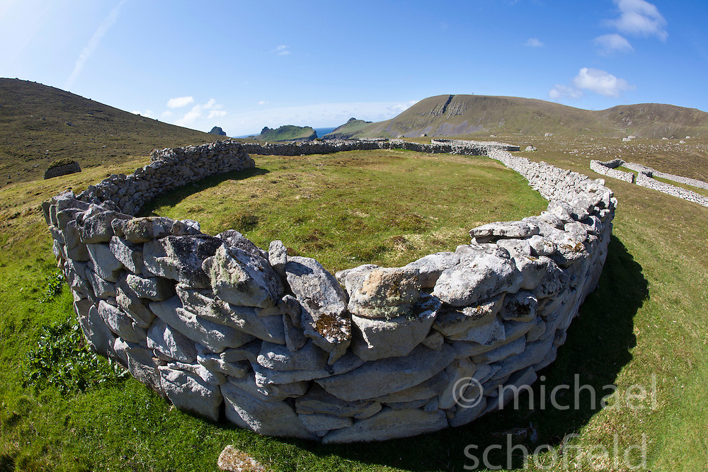 Ruins on Hirta, the largest island of the St Kilda archipelago, west-northwest of North Uist in the North Atlantic Ocean. It is one of Scotland's five World Heritage Sites..©Michael Schofield..