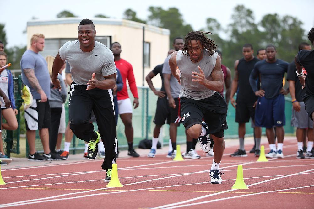 FEB  5 2014:  Khalil Mack (left) Shaq Richardson trains for the NFL Scouting Combing with Coach Tom Shaw at his facility at Disney's Wide World of Sports in Orlando, Florida. Photo by Tom Hauck.