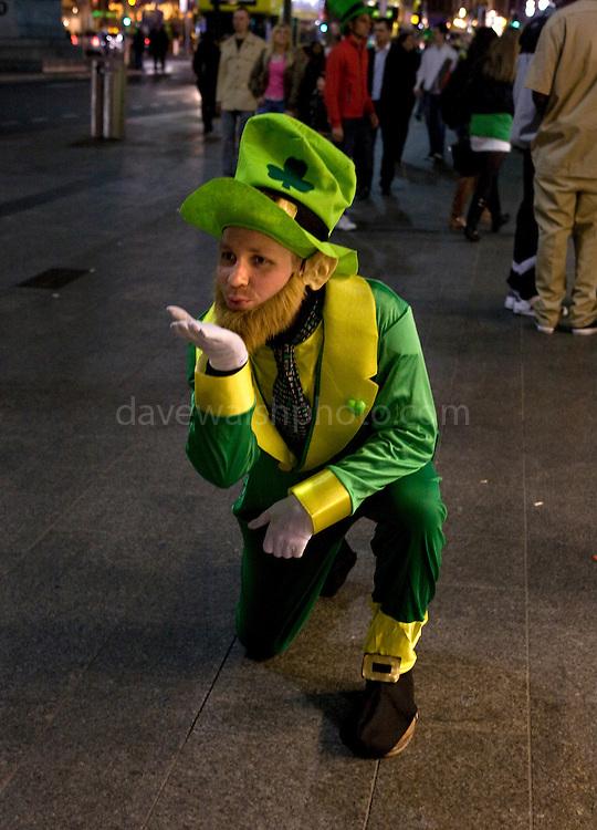 German Leprechaun on Dublin's O'Connell St, St. Patrick's Day, 2009