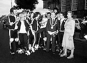 Members of the Roller All Star Hockey Club assemble outside Kilmainham Jail, Dublin, before setting out on a non-stop roller skating marathon from Dublin to Cork to raise money for the Central Remedial Clinic. Dublin&rsquo;s Lord Mayor, Fergus O&rsquo;Brien, inspects their equipment before they leave. On the right is Senator Lady Valerie Goulding, Chairperson and Managing Director of the CRC.<br />
