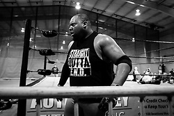 TJ Boss paces outside the ring during thier doubles bout at Old School Championship Wrestling Sunday, March 13, 2016 at the Hanahan Sports Complex. Paul Zoeller/Staff