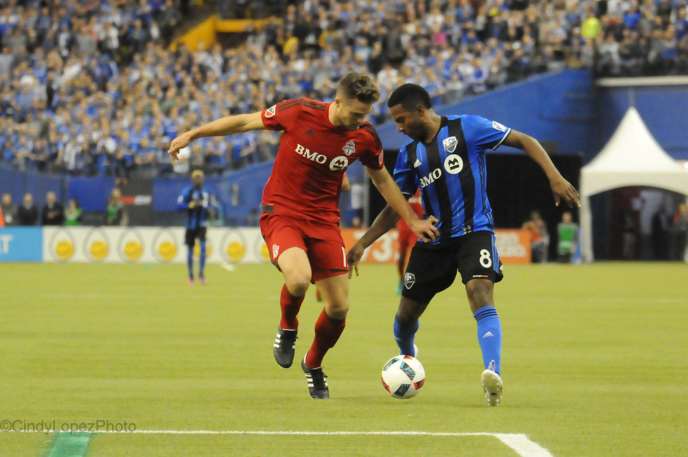 Midfielder Patrice Bernier of the Montreal Impact in the first leg of the 2016 MLS Conference semi-final game against Toronto FC at the Olympic Stadium. (Published in Cult MTL, November 2016)