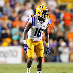 Sep 21, 2013; Baton Rouge, LA, USA; LSU Tigers defensive back Tre'Davious White (16) against the Auburn Tigers during the second half of a game at Tiger Stadium. LSU defeated Auburn 35-21. Mandatory Credit: Derick E. Hingle-USA TODAY Sports