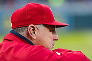 Mike Scioscia #14 manager of the Los Angeles Angels looks on during a game against the Minnesota Twins on April 16, 2013 at Target Field in Minneapolis, Minnesota.  The Twins defeated the Angels 8 to 6.  Photo: Ben Krause