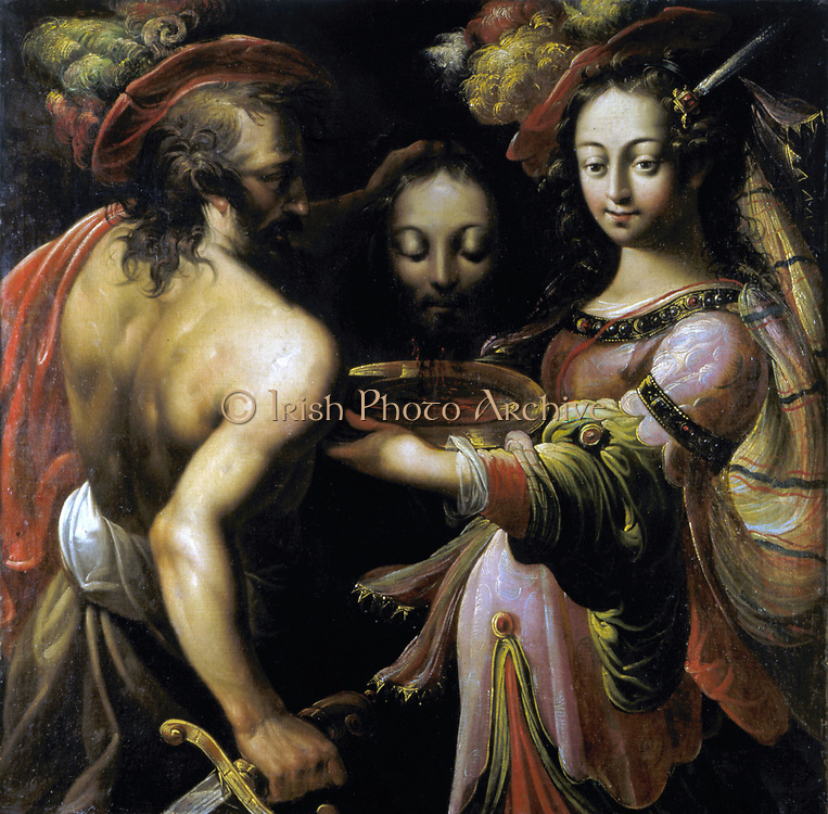 The Beheading of John the Baptist' Executioner hold up St John's head while Salome holds golden platter ready to receive it.  School of Lorraine c1630. Oil on canvas.
