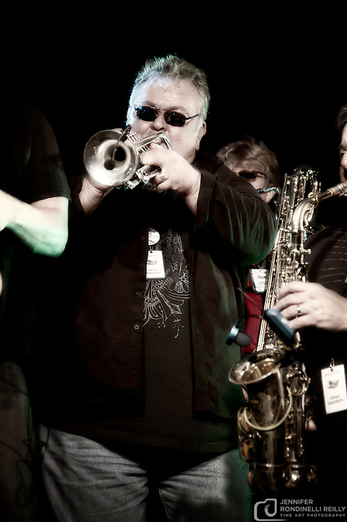 Paul Millane on trumpet for Sleighriders Milwaukee live at Shank Hall. Photo by Jennifer Rondinelli Reilly. NO USE WITHOUT PERMISSION.