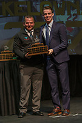 KELOWNA, CANADA - MARCH 19:  Most Improved Award presented to Kole Lind by Jim Siegmann at the Kelowna Rockets Awards Ceremony on March 19, 2017 at the Kelowna Community Theater in Kelowna, British Columbia, Canada.  (Photo By Cindy Rogers/Nyasa Photography,  *** Local Caption ***