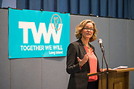 Wyandanch, New York, USA. March 26, 2017. LAURA CURRAN, Nassau County Legislator (Democrat - District 5) speaks at Politics 101, the first of series of activist training workshops for members of TWW LI, the Long Island affiliate of national Together We Will. Curran is a Democratic candidate for Nassau County Executive. One of the 5 speakers referred to groups such as TWWLI as activist pop-up groups.