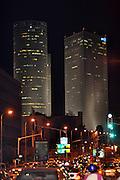 Israel, Tel Aviv, at night. Azrieli centre in the background