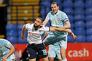 Bolton Wanderers striker Aaron Wilbraham (18) and Sunderland defender John O'Shea (16) during the EFL Sky Bet Championship match between Bolton Wanderers and Sunderland at the Macron Stadium, Bolton, England on 20 February 2018. Picture by Craig Galloway.