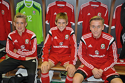 NEWPORT, WALES - Tuesday, September 23, 2014: Wales' goalkeeper George Ratcliffe, Rhys Norrington-Davies and Theo Llewellyn before the Under-16's International Friendly match against France at Dragon Park. (Pic by Cledwyn Ashford/Propaganda)