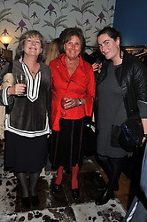 Left to right, CATHERINE GUINNESS, LADY AMABEL LINDSAY and REBECCA GUINNESS at a private view of Nesta Fitzgerald's prints held at Selina Blow's store, Ellis Street, London on 27th September 2011.