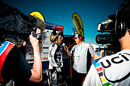 #777 (WILLERS Marc) NZL wins final of the 2011 UCI BMX Supercross World Cup in London and is interviewed by the press.