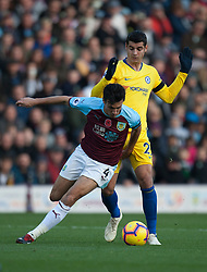 Jack Cork of Burnley (L) and Alvaro Morata of Chelsea in action - Mandatory by-line: Jack Phillips/JMP - 28/10/2018 - FOOTBALL - Turf Moor - Burnley, England - Burnley v Chelsea - English Premier League