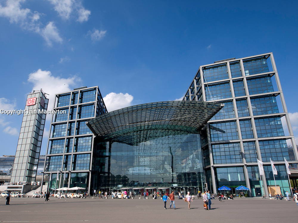 Exterior view of modern new Hauptbahnhof or Central railway station in Berlin Germany