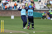 Helen Fenby celebrates her wicket during the Vitality T20 Blast North Group match between Lancashire Thunder and Yorkshire Vikings at Liverpool Cricket Club, Liverpool, United Kingdom on 13 August 2019.