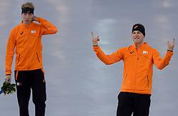 08-02-2014 SCHAATSEN: OLYMPIC GAMES: SOTSJI<br /> Het eerste GOUD, ZILVER EN BRONS zijn binnen! Sven Kramer en Jorrit Bergsma.<br /> ©2014-FotoHoogendoorn.nl<br />  / Sportida