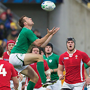 Tommy Bowe, Ireland, takes a high ball during the Ireland V Wales Quarter Final match at the IRB Rugby World Cup tournament. Wellington Regional Stadium, Wellington, New Zealand, 8th October 2011. Photo Tim Clayton...