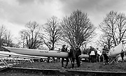 London. United Kingdom, Left, Emmanuel Boat Club A, prepares their boat for the 2018 Women's Head of the River Race.  location Barnes Bridge, Championship Course, Putney to Mortlake. River Thames, <br /> <br /> Saturday   10/03/2018<br /> <br /> [Mandatory Credit:Peter SPURRIER Intersport Images]<br /> <br /> LEICA CAMERA AG  LEICA Q (Typ 116)  1/250 sec. 28 mm f.4 200 ISO.  42.7MB