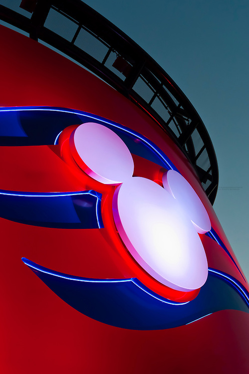 Smokestack with Mickey emblem on the new Disney Dream cruise ship, Disney Cruise Line, sailing between Florida and the Bahamas