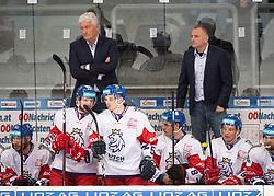 13.04.2019, Keine Sorgen Eisarena, Linz, AUT, Euro Hockey Challenge, Österreich vs Tschechien, Länderspiel, im Bild v.l. Head Coach Milos Riha (CZE), Assistent Coach Robert Reichel (CZE) // during the international friendly match between Austria and Czech Republic, as part of the Euro Hockey Challenge at the Keine Sorgen Eisarena in Linz, Austria on 2019/04/13. EXPA Pictures © 2019, PhotoCredit: EXPA/ Reinhard Eisenbauer