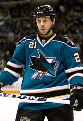 January 6, 2010; San Jose, CA, USA; San Jose Sharks defenseman Alexei Semenov (21) during the overtime period against the St. Louis Blues at HP Pavilion.  San Jose defeated St. Louis 2-1 in overtime. Mandatory Credit: Jason O. Watson / US PRESSWIRE