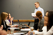 Ohio University Alumnus Jim Burya of Deloitte & Touche LLP talks to students during the program A Day in the Life of an MIS Professional in The College of Business Thrusday April 3, 2014.  Photo by Ohio University / Jonathan Adams