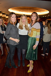 Left to right, NATALIE PINKHAM, ASTRID HARBORD and YASMIN LE BON at a ladies lunch in aid of the charity Child Bereavement UK held at The Bulgari Hotel, 171 Knightsbridge, London on 25th February 2016.