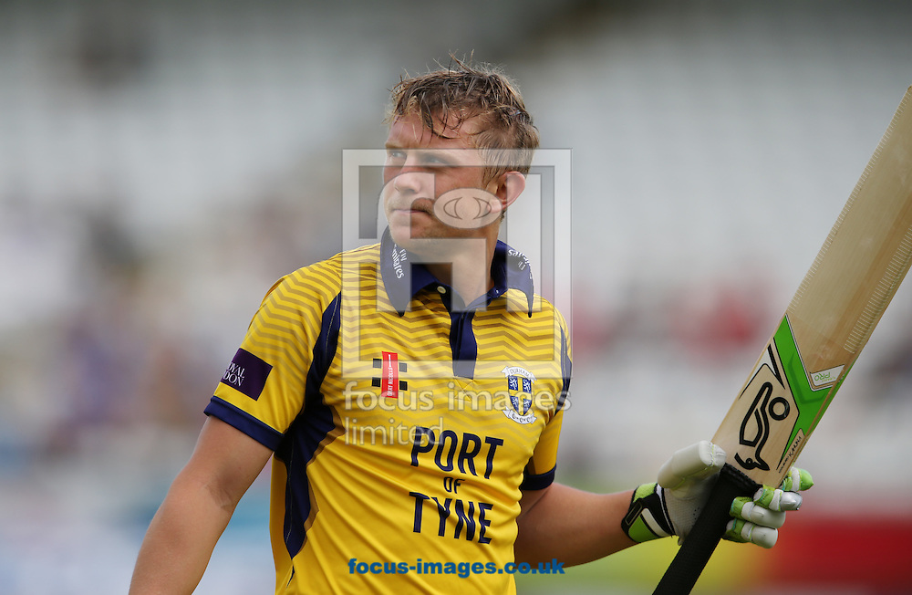Scott Borthwick of Durham CCC after getting out during the Royal London One Day Cup match at Emirates Riverside, Chester-le-Street<br /> Picture by Simon Moore/Focus Images Ltd 07807 671782<br /> 31/07/2016