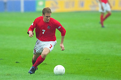 KIEV, UKRAINE - Tuesday, June 5, 2001: Wales' Stephen Thomas in action during the Under-21 World Cup Qualifying match against Ukraine at the Dynamo Stadium. (Pic by David Rawcliffe/Propaganda)