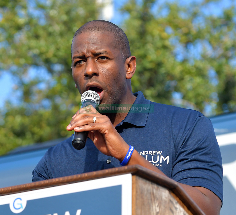 November 1, 2018 - North Miami, Florida, United States Of America - NORTH MIAMI, FLORIDA - NOVEMBER 01: Florida Democratic gubernatorial nominee Andrew Gillum greets people as he stumps for votes on November 1, 2018 in North Miami, Florida. Gillum, the mayor of Tallahassee, is facing off in a close election against Republican candidate Ron DeSantis..People:  Andrew Gillum. (Credit Image: © SMG via ZUMA Wire)