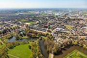 Nederland, Drenthe, Coevorden, 01-05-2013; overzicht noordelijk gedeelte van de stad met watertoren op bastion in de voorgrond. Links Coevorden-Vechtkanaal.<br /> Coevorden, provincial city near German border (East Holland).<br /> luchtfoto (toeslag op standard tarieven);<br /> aerial photo (additional fee required);<br /> copyright foto/photo Siebe Swart