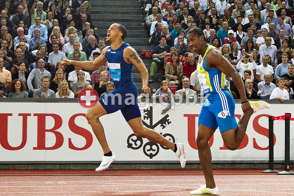 First placed Wallace SPEARMON (L) of the USA and second placed Yohan BLAKE of Jamaica compete in the men's 200m during the IAAF Diamond League meeting at the Letzigrund Stadium in Zurich, Switzerland, Thursday, Aug. 19, 2010. (Photo by Patrick B. Kraemer / MAGICPBK)