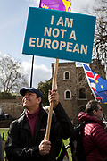On the day that MPs in Parliament vote on a possible delay on Article 50 on EU Brexit negotiations by Prime Minister Theresa May, Brexiteer Leavers who is not a Eropean protests on College Green, on 14th March 2019, in Westminster, London, England.