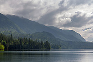 Jade Bay at Cultus Lake Provincial Park in Chilliwack, British Columbia, Canada.  View from the Jade Bay Boat Launch looking south towards Teapot Hill, Black Mountain and Tsar Mountain.