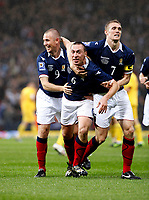 Football<br /> 05/09/2009 SCOTLAND V MACEDONIA <br /> SCOTT BROWN CELEBRATES SCORING SCOTLAND'S FIRST GOAL DURING THE WORLD CUP 2010 QUALIFIER AGAINST MACEDONIA AT HAMPDEN PARK.<br /> Credit: Colorsport