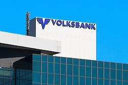 THEMENNBILD, Wien Österreich, Die Volksbank ist eine österreichische Bank mit Sitz in Wien. im Bild ein Schriftzug der Volksbank. //THEME IMAGE, FEATURE, The Volksbank is an Austrian bank with headquarters in Vienna. picture shows the logo of the Volksbank. EXPA Pictures © 2012, PhotoCredit: EXPA/ Sebastian Pucher