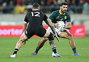 Damian de Allende of South Africa during the Rugby Championship match between the New Zealand All Blacks & South Africa at Westpac Stadium, Wellington on Saturday 27th July 2019. Copyright Photo: Grant Down / www.Photosport.nz