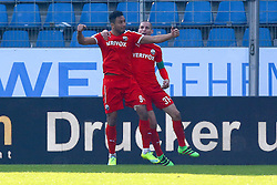 27.02.2016, Rewirpower Stadion, Bochum, GER, 2. FBL, VfL Bochum vs SV 1916 Sandhausen, 23. Runde, im Bild Torjubel nach dem Tor zum 2:2 durch Aziz Boehaddouz (#9, SV Sandhausen) mit Stefan Kulovits (#31, SV Sandhausen) // during the 2nd German Bundesliga 23th round match between VfL Bochum and SV 1916 Sandhausen at the Rewirpower Stadion in Bochum, Germany on 2016/02/27. EXPA Pictures © 2016, PhotoCredit: EXPA/ Eibner-Pressefoto/ Deutzmann<br /> <br /> *****ATTENTION - OUT of GER*****