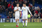 Marcos Rojo Defender of Manchester United congratulates Ander Herrera Midfielder of Manchester United during the Premier League match between Crystal Palace and Manchester United at Selhurst Park, London, England on 14 December 2016. Photo by Phil Duncan.